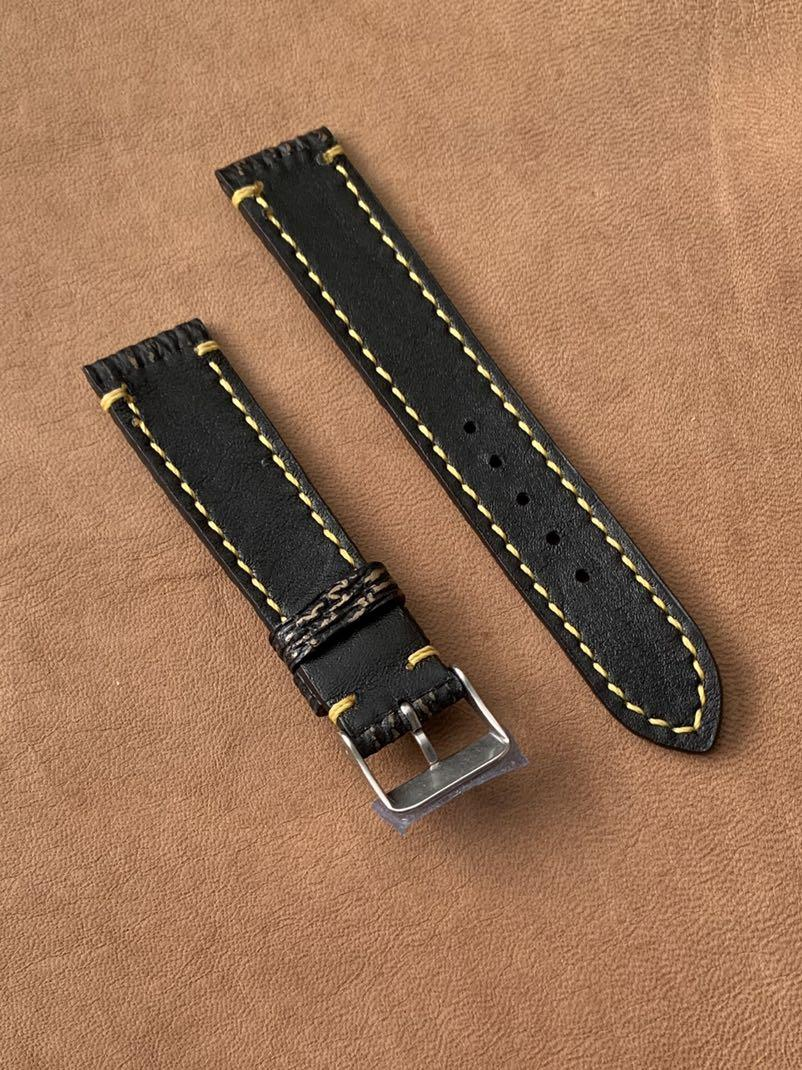 [DISCOUNTED] 20mm/18mm Black with Golden Brown Shark Leather Watch Strap with Yellow Brown Stitching) 20mm@lug/18mm@buckle Standard length- L:120mm, S:75mm (last piece 🙏🏻😊) -MANY STRAPS ON DISCOUNT! 😊