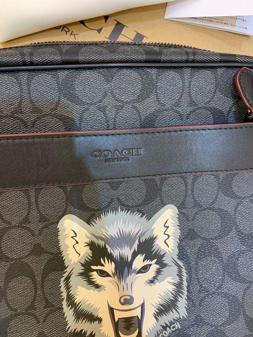 Ready Stock authentic coach 31337 wolf collection men crossbody sling bag messengers bag
