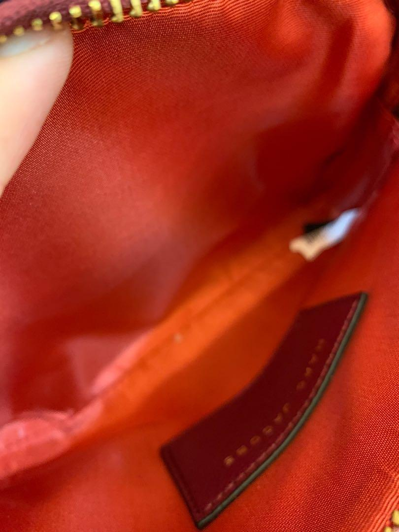 Ready stock authentic Marc Jacobs crossbody sling bag wine red with strap snapshot handbag
