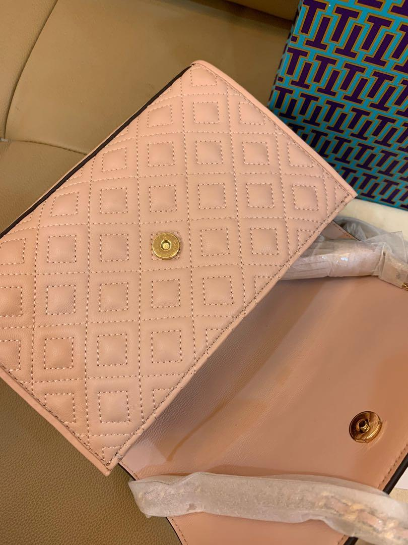 Ready Stock authentic Tory Burch Fleming convertibles in pink sling bag crossbody handbag ready stock