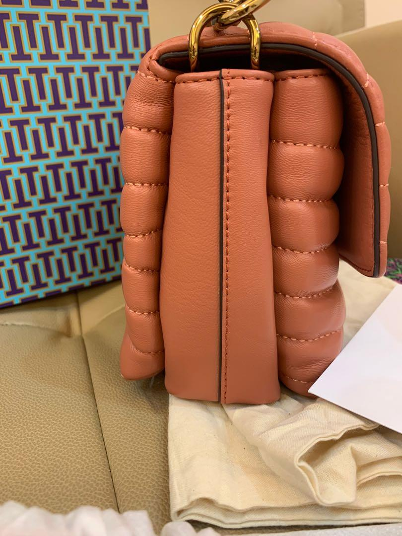 Ready Stock authentic Tory Burch Fleming pink crossbody sling bag handbag in pink with chain