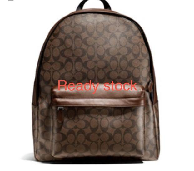 (Ready Stock clearance)Authentic Coach men backpack monogram brown laptop bag traveller bag pvc raya promotion