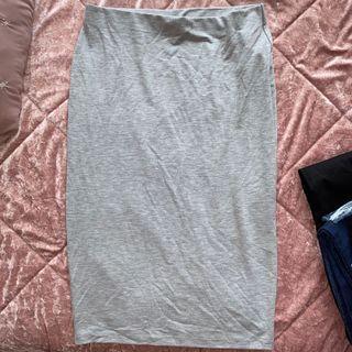 F21 Stretchy Grey midi skirt