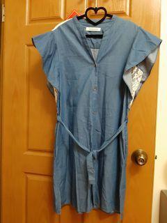 牛仔蕾絲荷葉袖洋裝