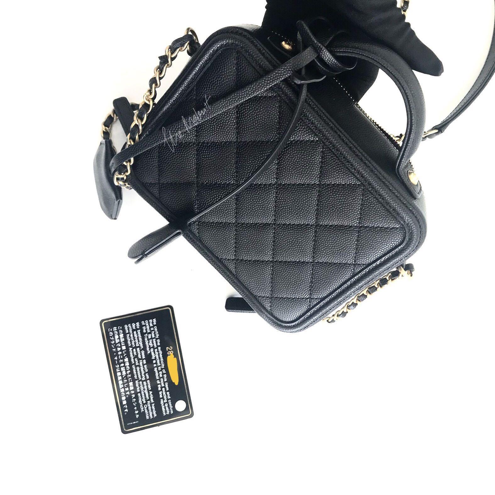 Authentic Chanel CC Filigree Black Caviar Leather Vanity Case Gold Hardware