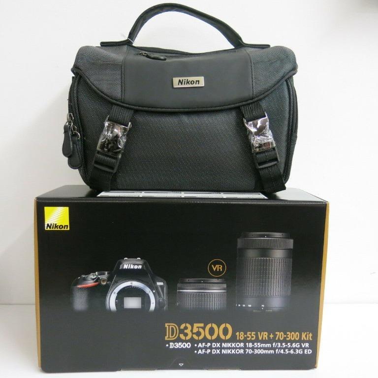 """BRAND NEW "" NIKON D3500 24.2MP 18-55mm VR/ 70-300 2 LENS KIT & CAMERA BAG"