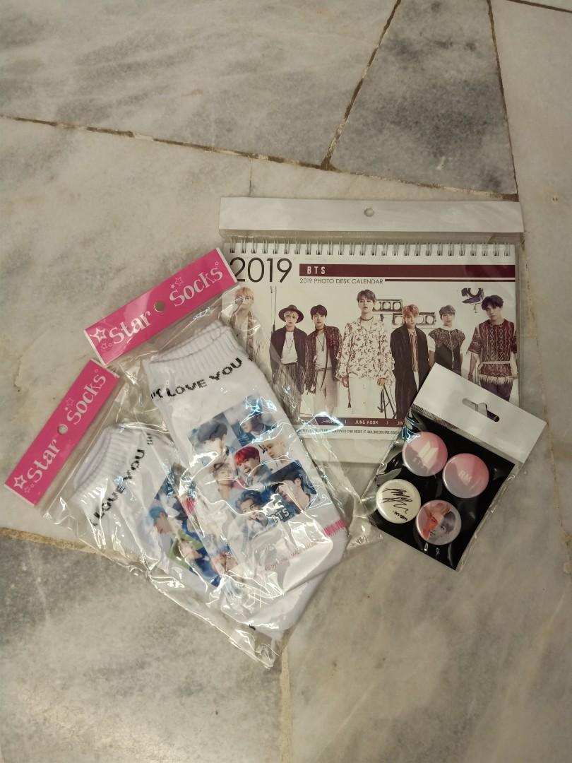 BRAND NEW BTS Merchandise ( socks , calendar , badge )