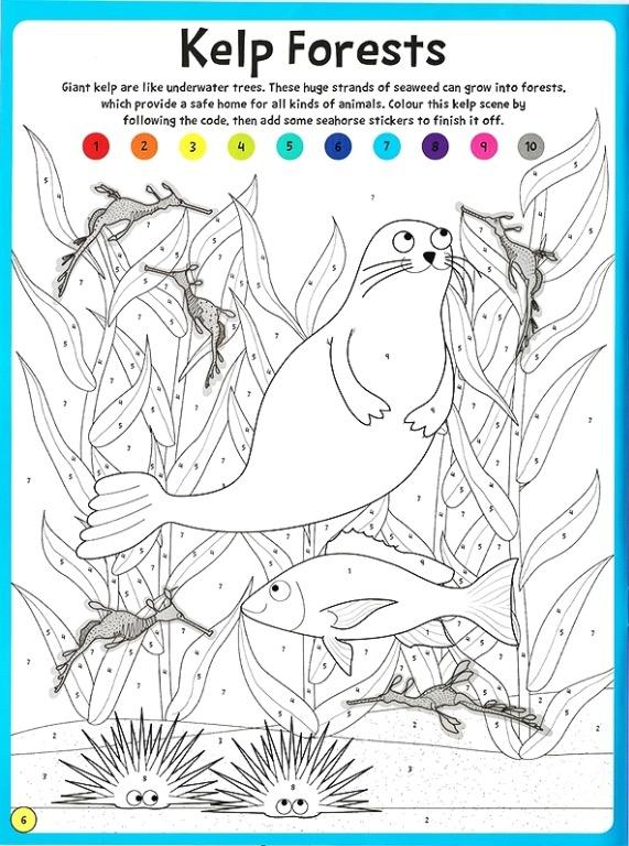 Color by Numbers - Ocean Animals | English | Coloring Book | Sticker Book | Activity Book | Children's Book