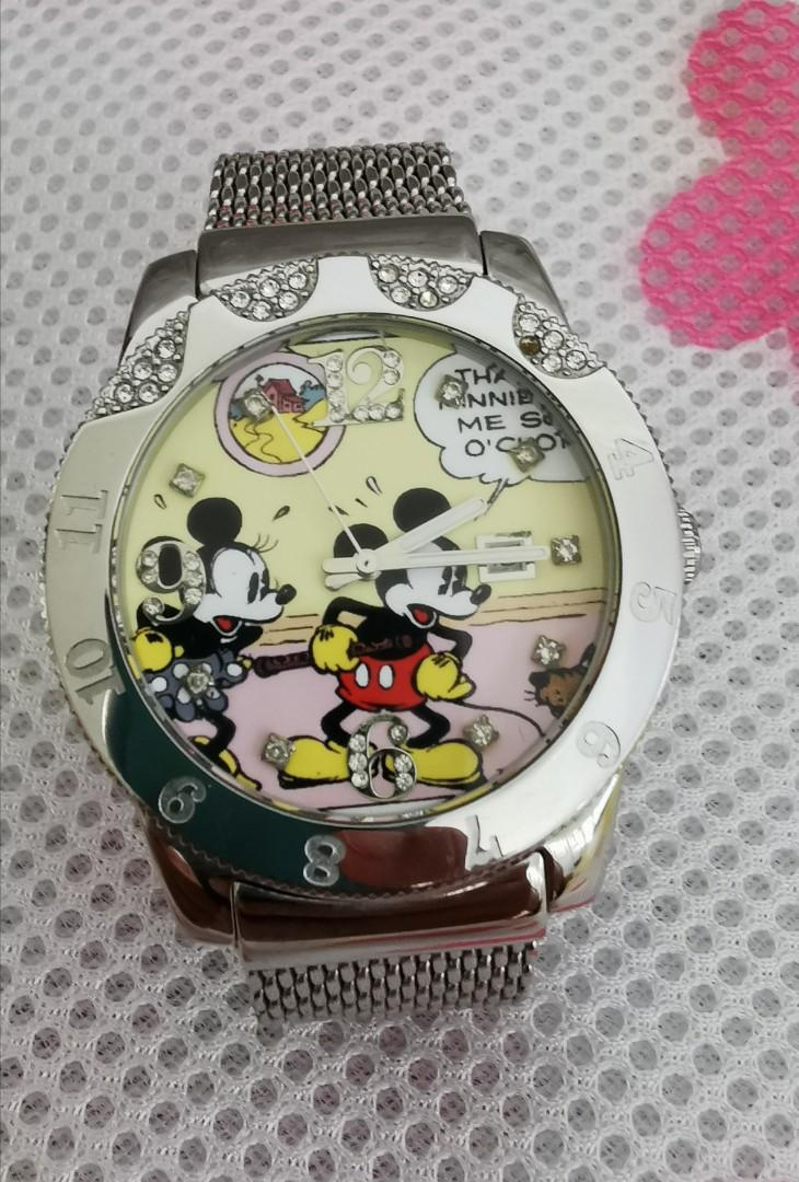 Disney quartz🐀 Mickey Mouse Watch. big size 40mm without crown. bezel rotatable. used like new. working condition good