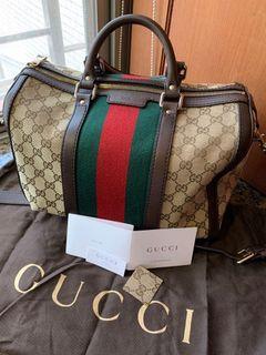 #新開始  Gucci 正版真品經典紅綠波士頓包
