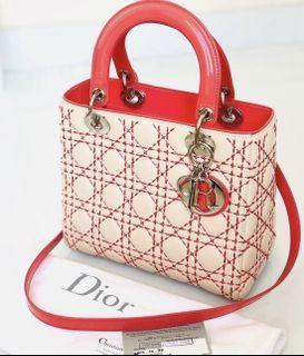 Lady Dior Medium Ivory Lamb Mixed Pink Patent SHW