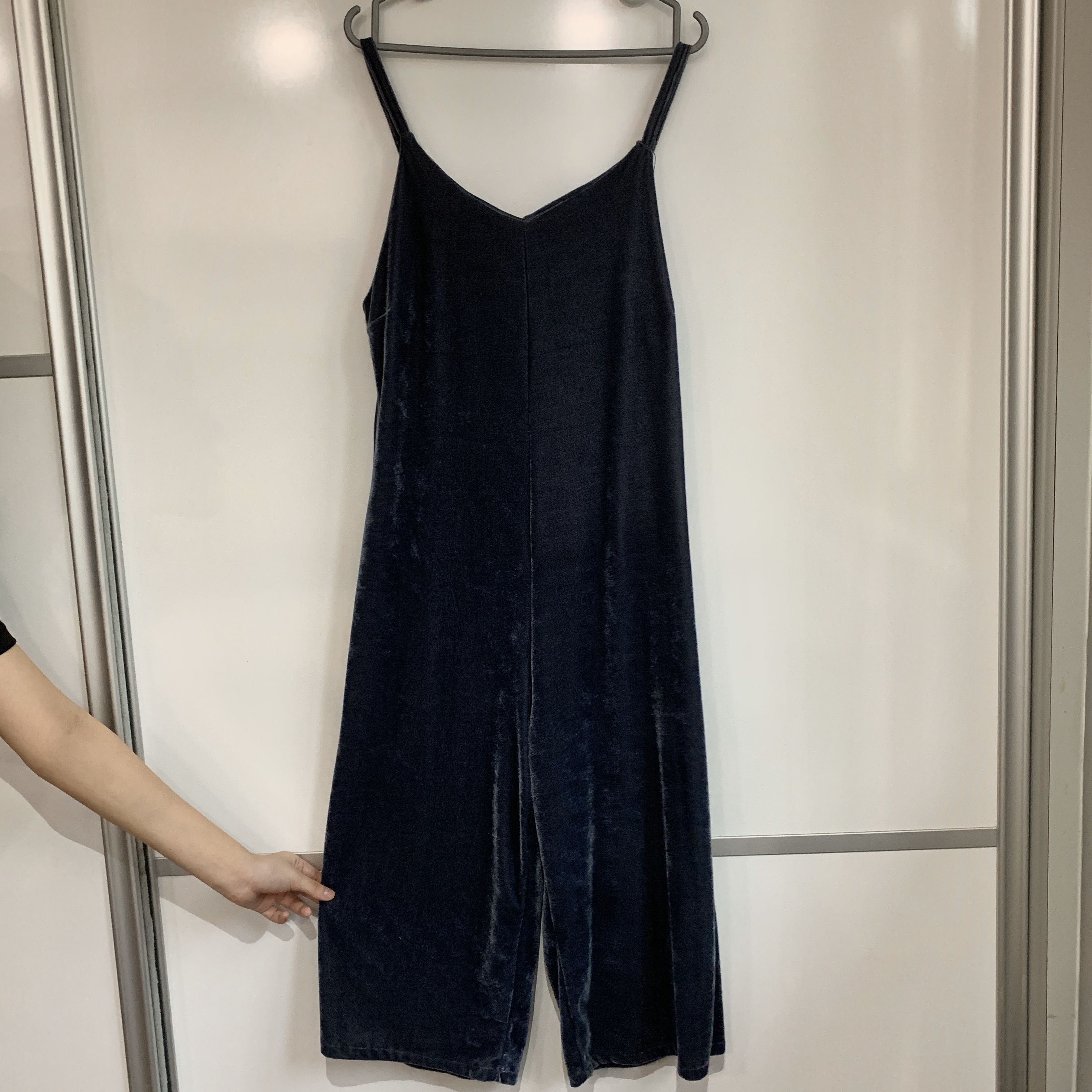 Navy Velvet Jumpsuit Women S Fashion Clothes Rompers Jumpsuits On Carousell