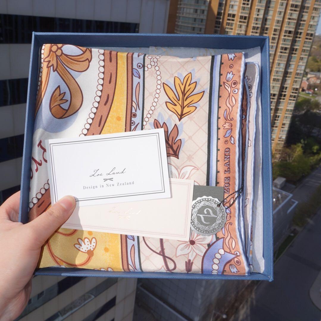 NWT Zoe Land Pride & Prejudice Inspired 100% Silk Square Scarf 90cm