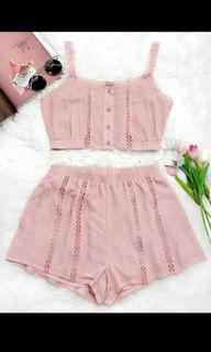 Pink Top & Matching Shorts SMALL