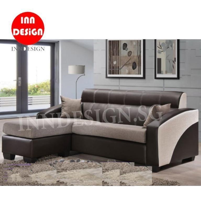 Sofa Fabric Faux Leather L Shaped Sofa Furniture Sofas On Carousell