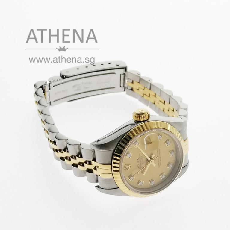 "ROLEX ""HALF-GOLD"" OYSTER PERPETUAL LADIES DATEJUST ""S"" SERIES ""CHAMPAGNE DIAMOND DIAL"" WITH CERT 69173 JGWRL_941"