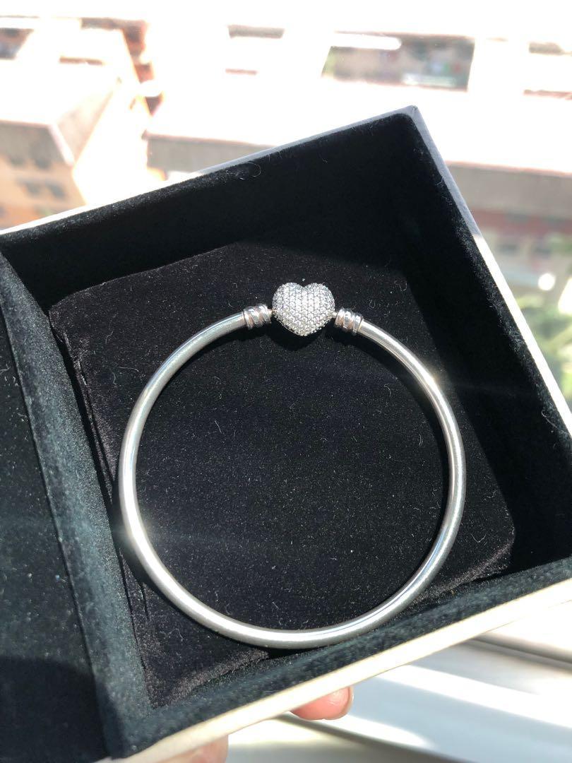 Authentic 100% original HK limited edition pandora silver bracelet Bangles heart charm