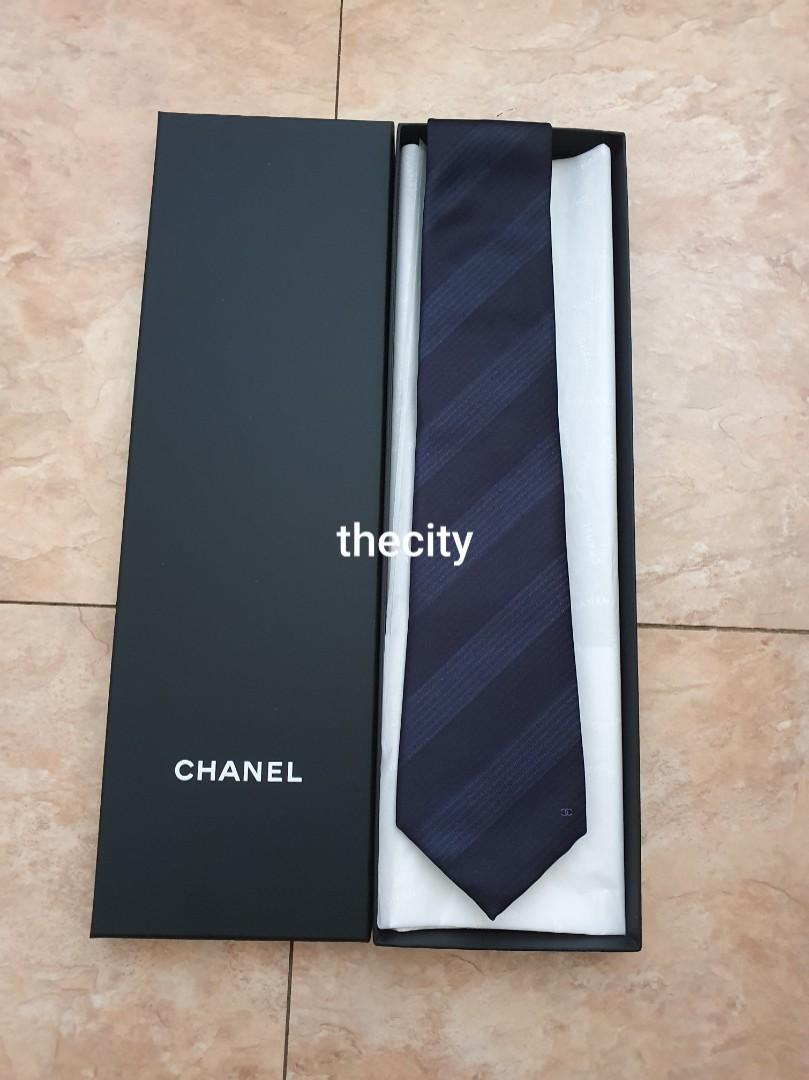 AUTHENTIC CHANEL TIE - BRAND NEW - WITH BOX, CHANEL TISSUE, CARDBOARD PAPER INTACT ( FULL SET PACKAGING) -  MADE IN ITALY - (RETAILS AROUND RM 2xxx - 3xxx++)