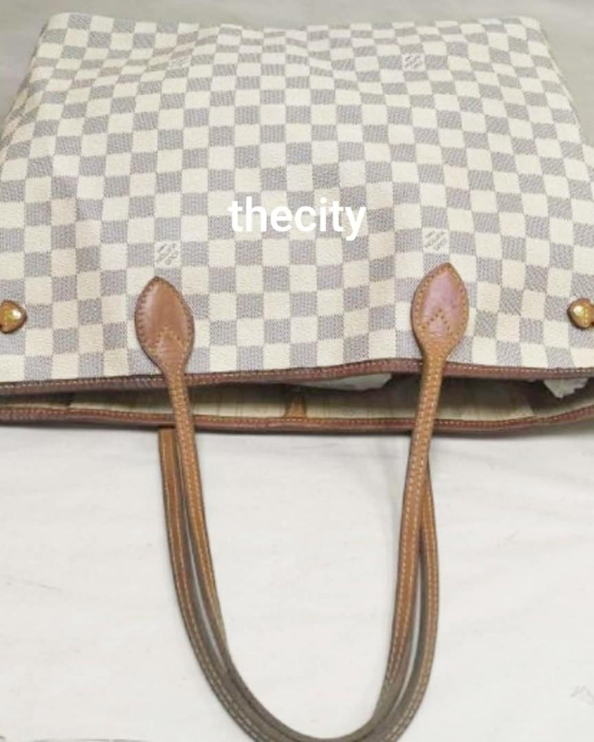 AUTHENTIC LOUIS VUITTON NEVERFULL DAMIER AZUR CANVAS - GM SIZE- VINTAGE, SO NOT FOR FUSSY BUYERS - TRIMS CAN BE RESTORED / CLEANED AT BAGSPA - (NOW RETAILS RM 6900+)