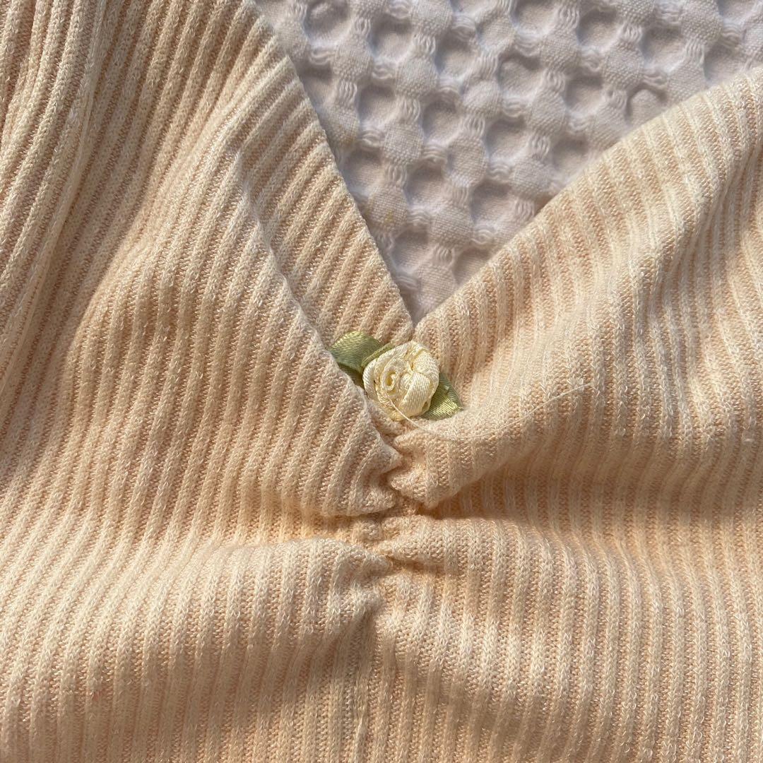 Beige Crop Top with Flower Detail