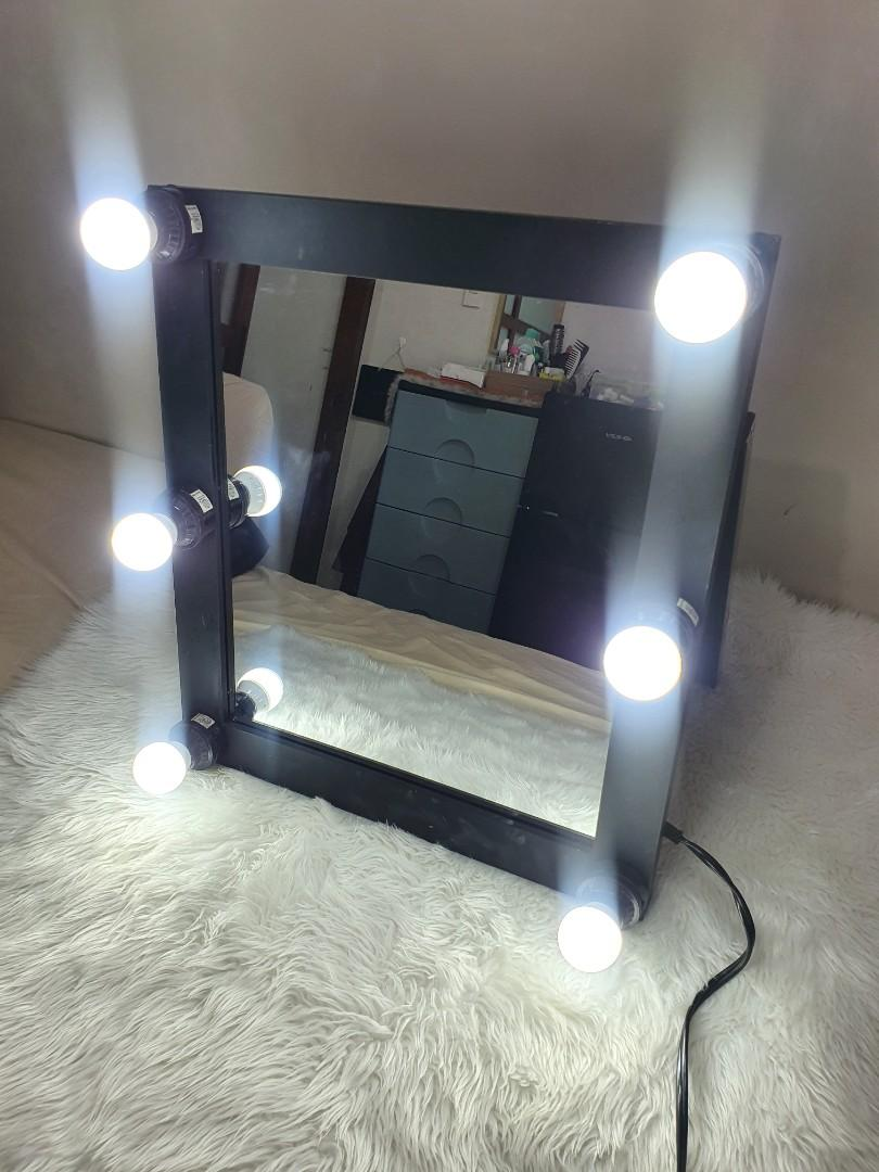 Black Vanity Mirror With Lights Home Furniture Home Tools And Accessories On Carousell