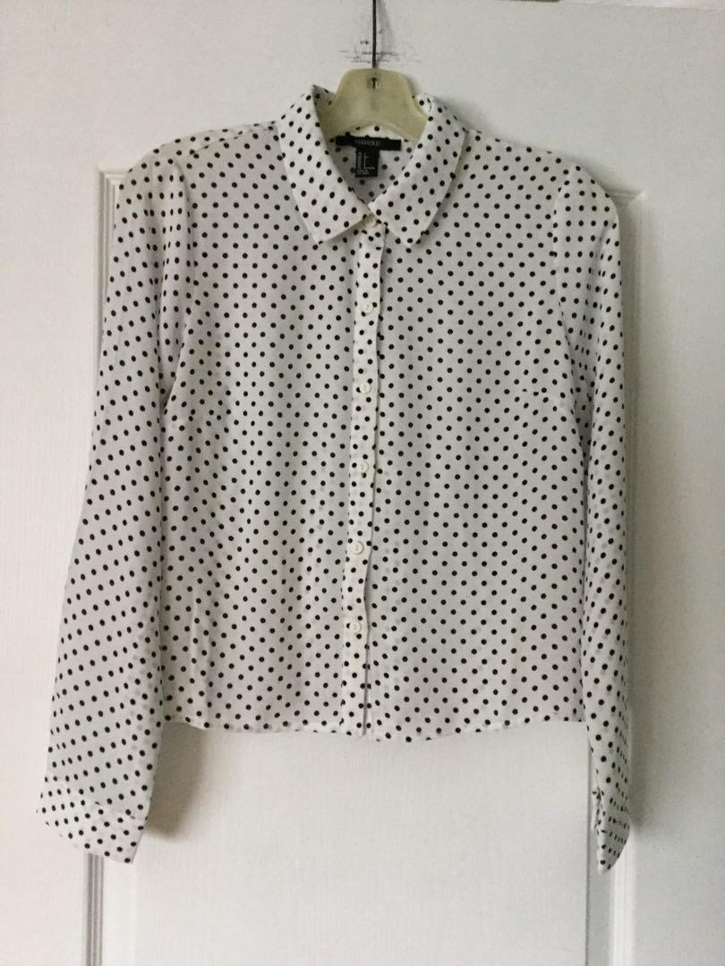 Forever 21 white and black polka dot blouse. S, Small. New