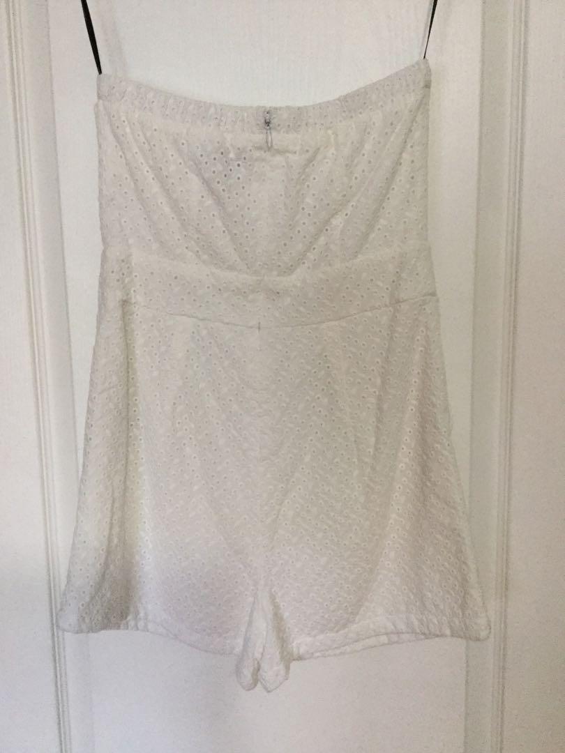 Forever 21 white eyelet shorts jumper, size medium. New