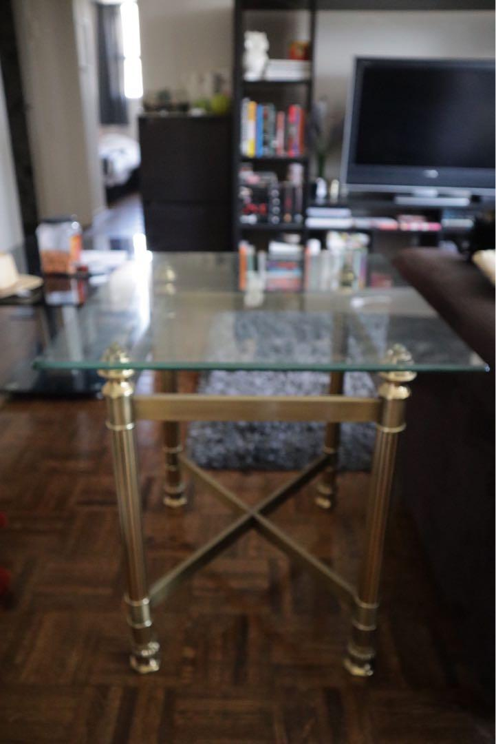 Glass side tables - copper leg finishing