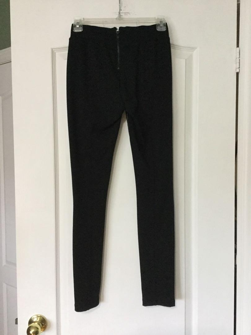 GUESS black half leather leggings size small, brand new.
