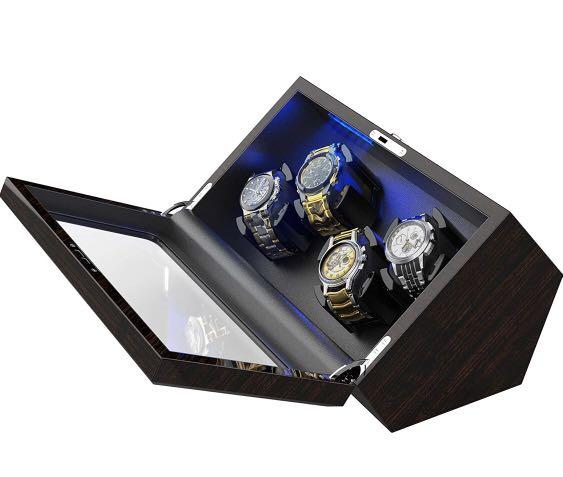 INCLAKE  102 High End Watch Winder for Rolex with Soft Flexible Watch Pillows, Blue Led Light, Open and Shut Down Featured, Pine Bark Pattern, Extra Over Size Watch Pillows Included