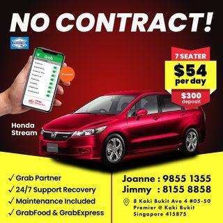 No Contract - Honda Stream MPV        (Grab Fleet Partner PHV Car Rental)