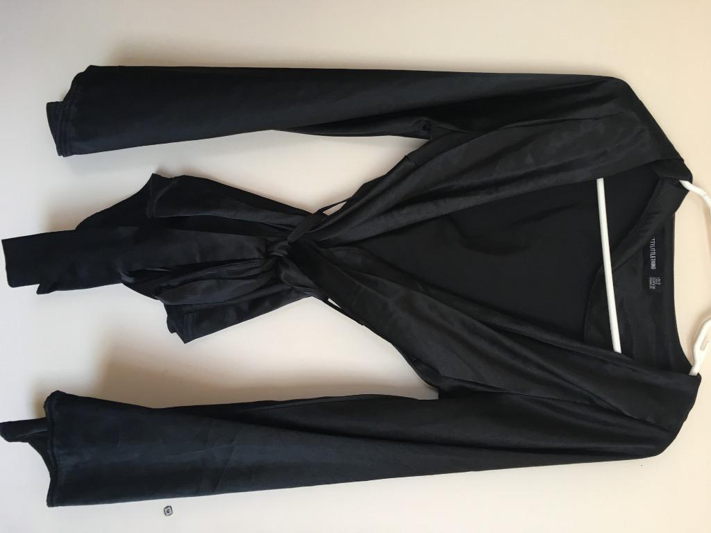 Pretty Little Thing Wraparound Black Blouse size 8