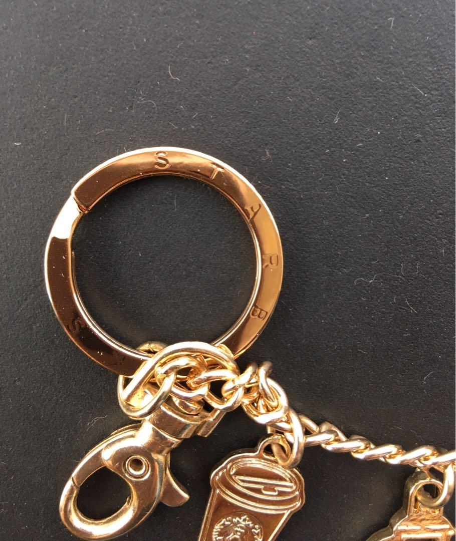 Starbucks Indonesia Exclusive Limited Edition Gold hardware Key chain + Charms Rare Collector Piece