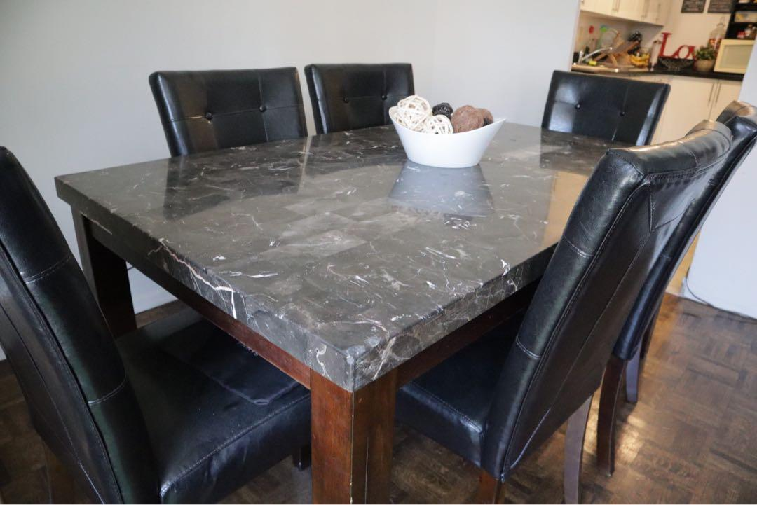 Stone-top dining table, with 6 dining chairs, wood leg finishing