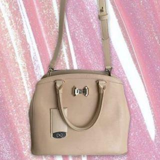 Ted Baker Nude Leather/Vinyl Bow Purse