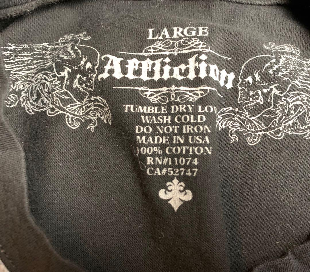 Affliction Men's Black Graphic Tee TShirt Large EUC