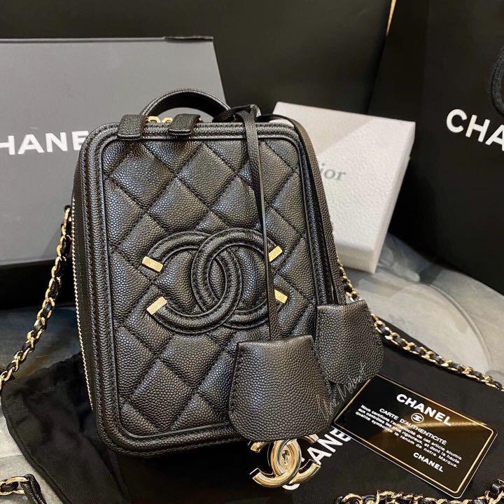 Authentic Chanel Filigree CC Vertical Camera Bag Black Caviar With Gold Hardware
