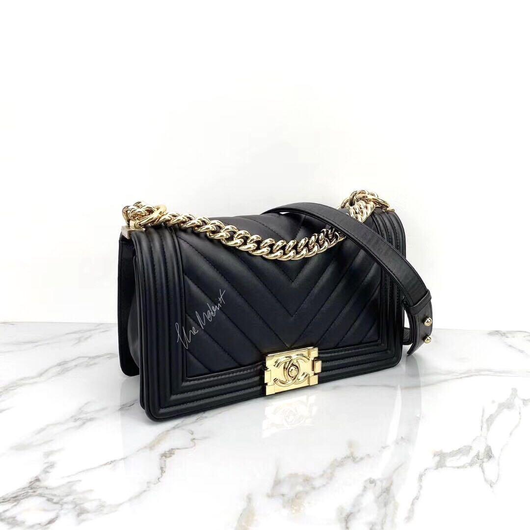 Authentic Chanel Old Medium Chevron Black Lambskin Le Boy Bag Light Gold Hardware