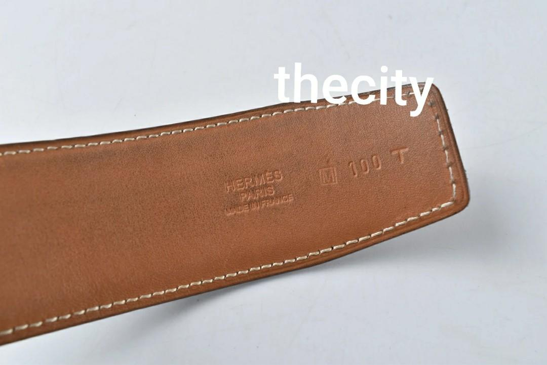 """AUTHENTIC HERMES BLACK LEATHER BELT STRAP , NO BUCKLE - SIZE 100 / 46"""" - COMES WITH BOX -"""