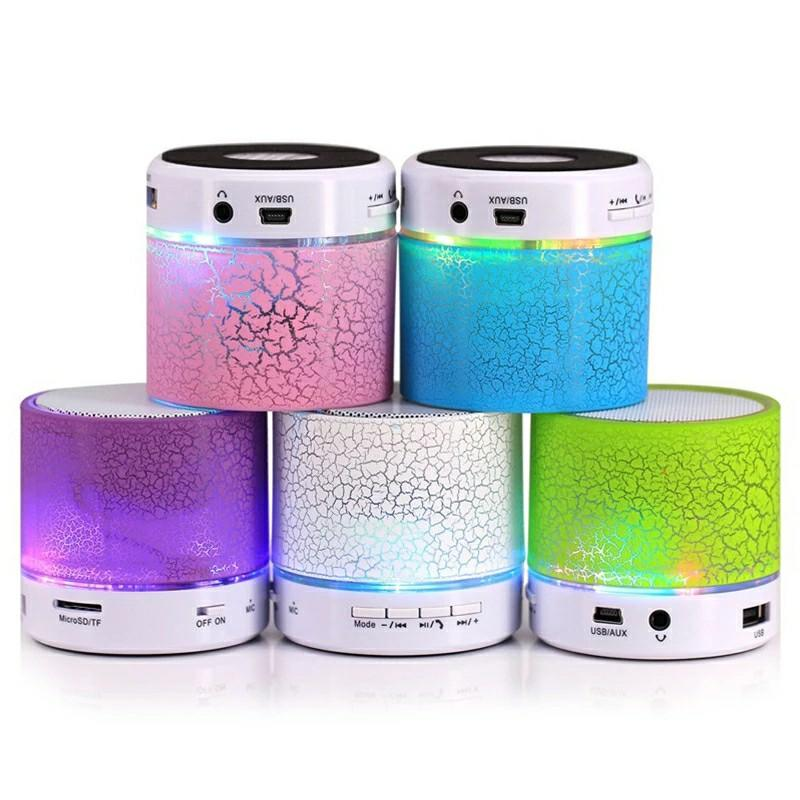 Bluetooth Mini Portable Speakers  Wireless Loudspeaker With Crack LED Light Lighting TF Card FM USB Handsfree Subwoofer MP3 Stereo Audio Music Player