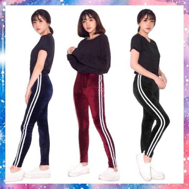 Celana Legging Velvet Stripe Import Legging Bludru Fashion Wanita Terlaris Olshop Fashion Olshop Wanita Di Carousell