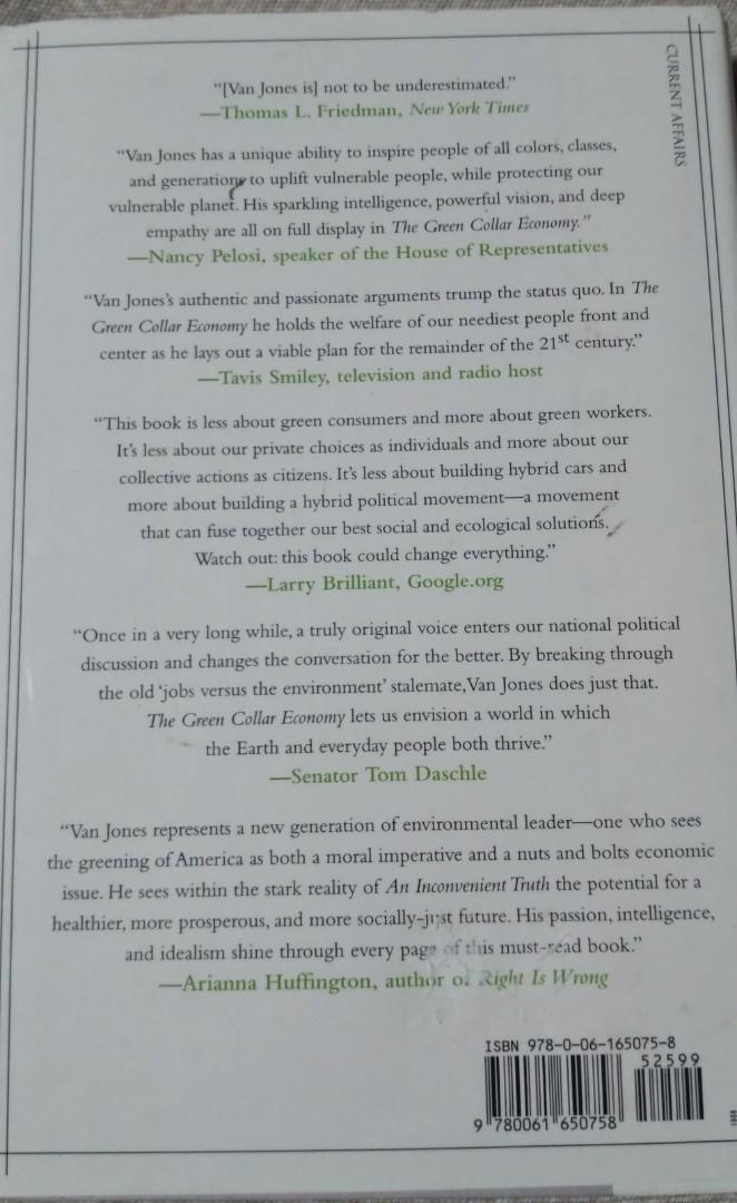 Ecological Intelligence by Daniel Goleman and The Green Collar Economy by Van Jones