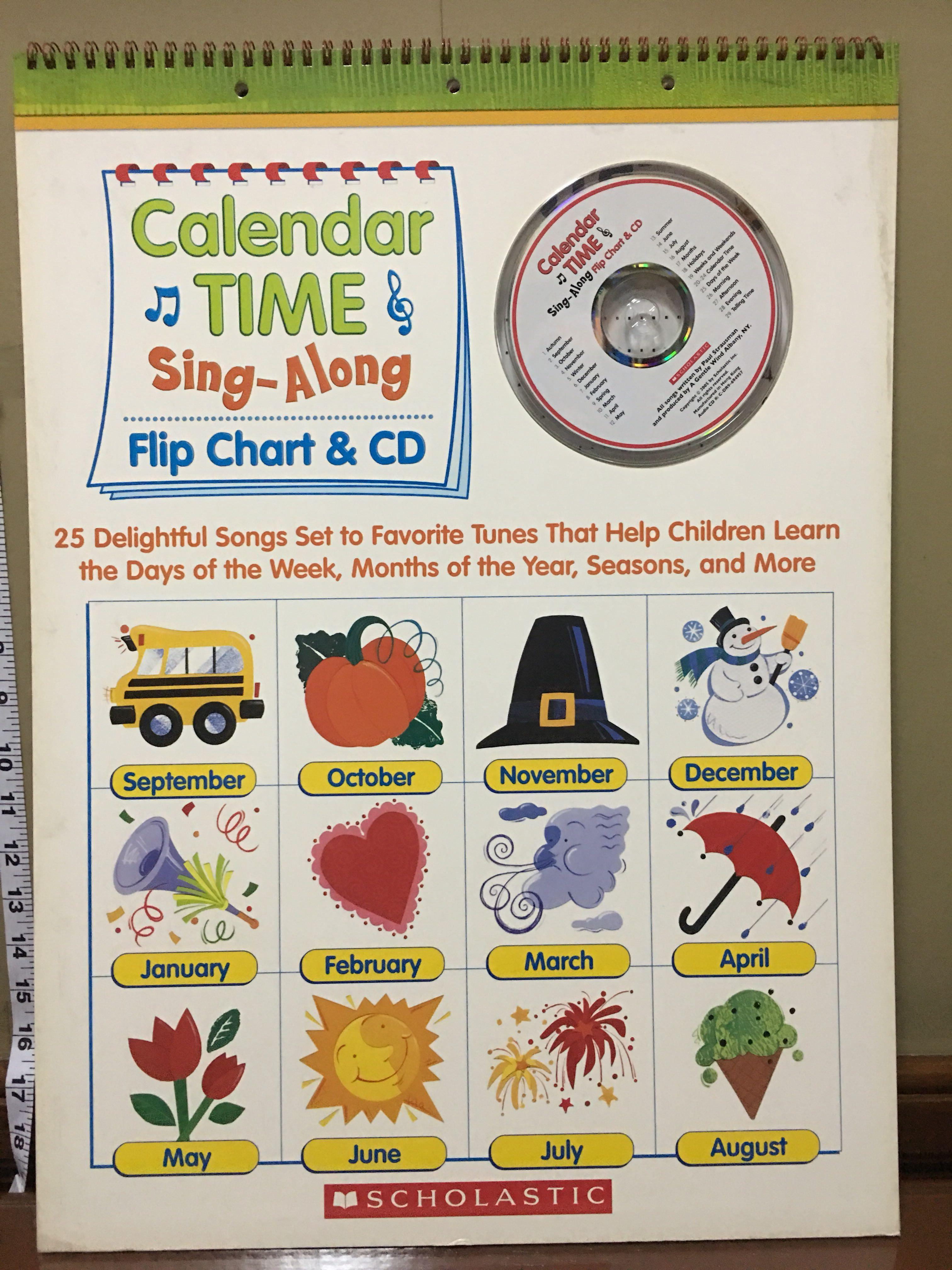 Giant Learning Flip Chart CD - Calendar Time Sing Along - Scholastic Teaching Resources - NEW