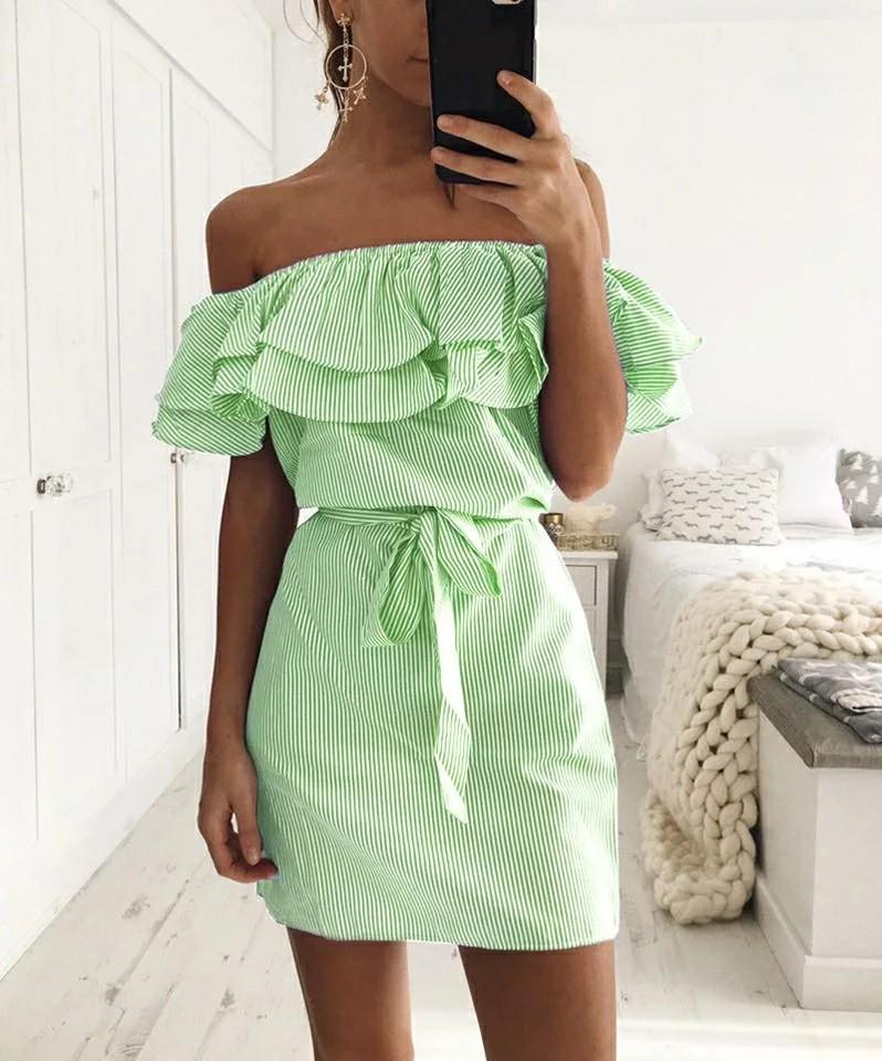 Girls Off Shoulder Strapless Striped Ruffles Dress Women Summer Sundresses Beach Casual Shirt Short Mini Party Dresses