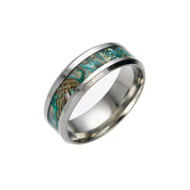 Men Women Unisex Abalone Shell Stainless Steel Rings Engagement Ring Rainbow Rippled Abalone Inlay Stainless Steel Ring