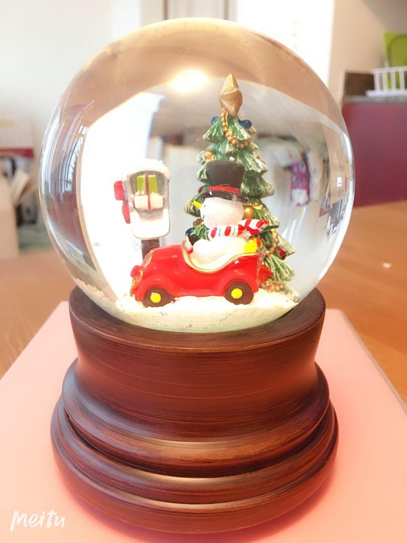Merry Christmas Crystal Ball with Snow- Wooden Stand