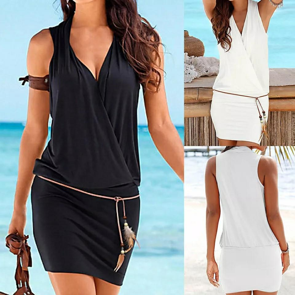 New Dress Fashion Women Casual V-Neck Hollow Out Sleeve Straight Dress Solid Beach Style Mini Dress Women Girls