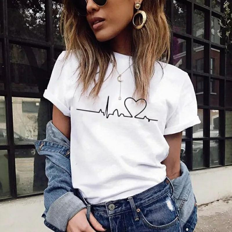 New Women T-shirts Casual Love Printed Tops Tee Summer Female T shirt Short Sleeve T shirt For Women Clothing