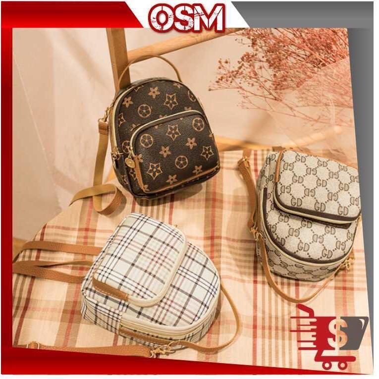 OSM - T389 Tas Selempang & Ransel Motif   / Tas Cewek / Handbag / Tas Impor Batam