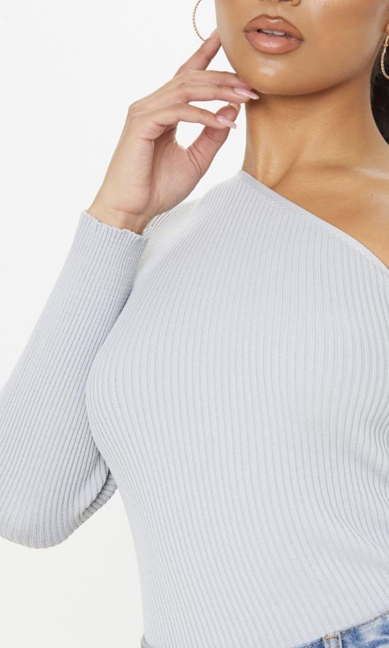 Pretty Little Thing PLT Grey One Shoulder Top Ribbed